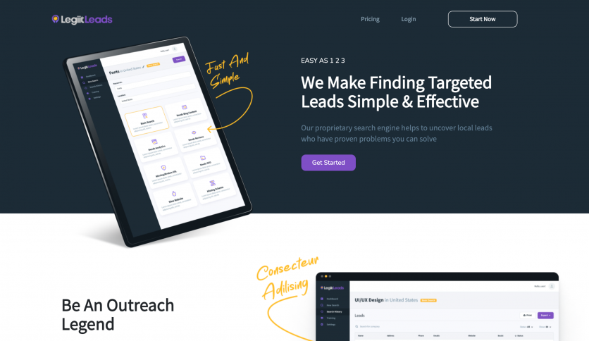 Legiit Leads Website Design