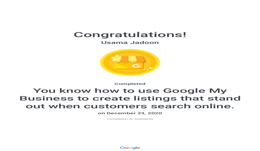 Google My Business Certificate