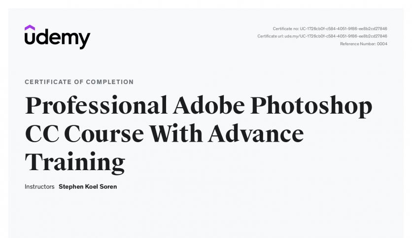 Photoshop Course Certificate